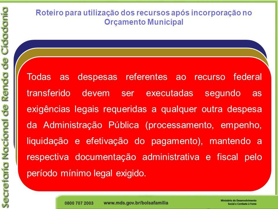 Roteiro para utilização dos recursos após incorporação no Orçamento Municipal