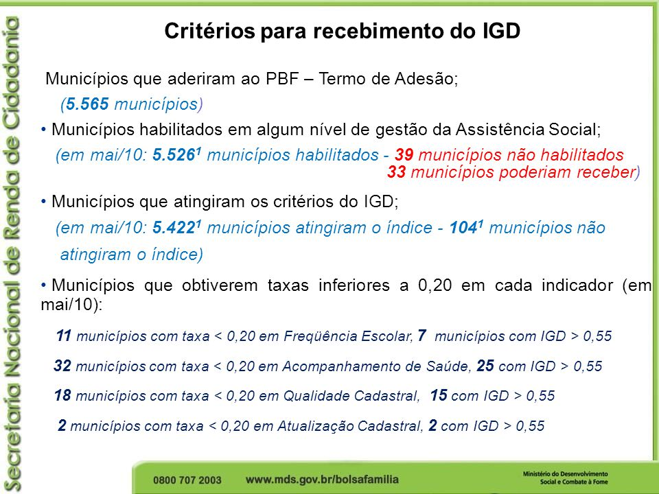 Critérios para recebimento do IGD