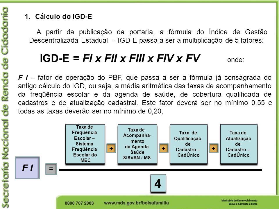 4 IGD-E = FI x FII x FIII x FIV x FV F I Cálculo do IGD-E