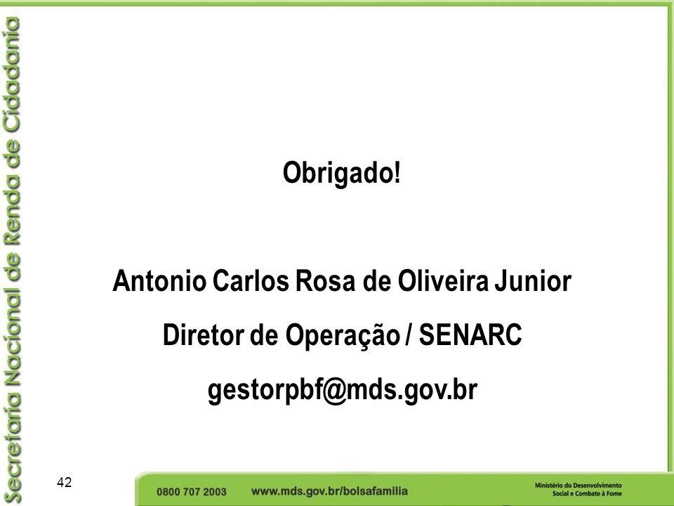 Antonio Carlos Rosa de Oliveira Junior Diretor de Operação / SENARC