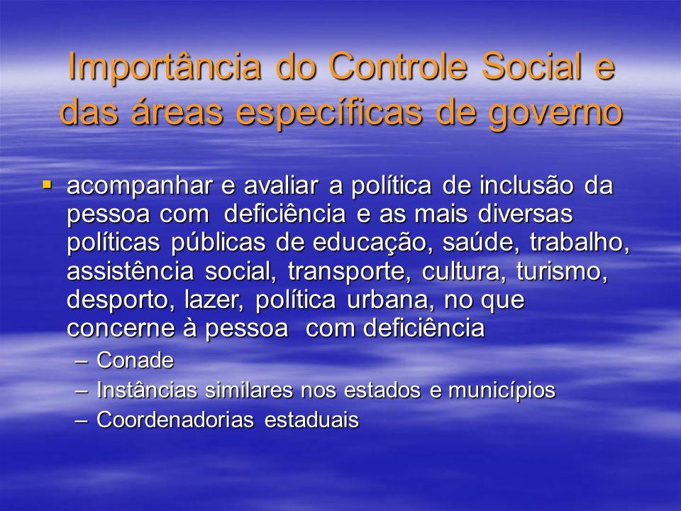 Importância do Controle Social e das áreas específicas de governo