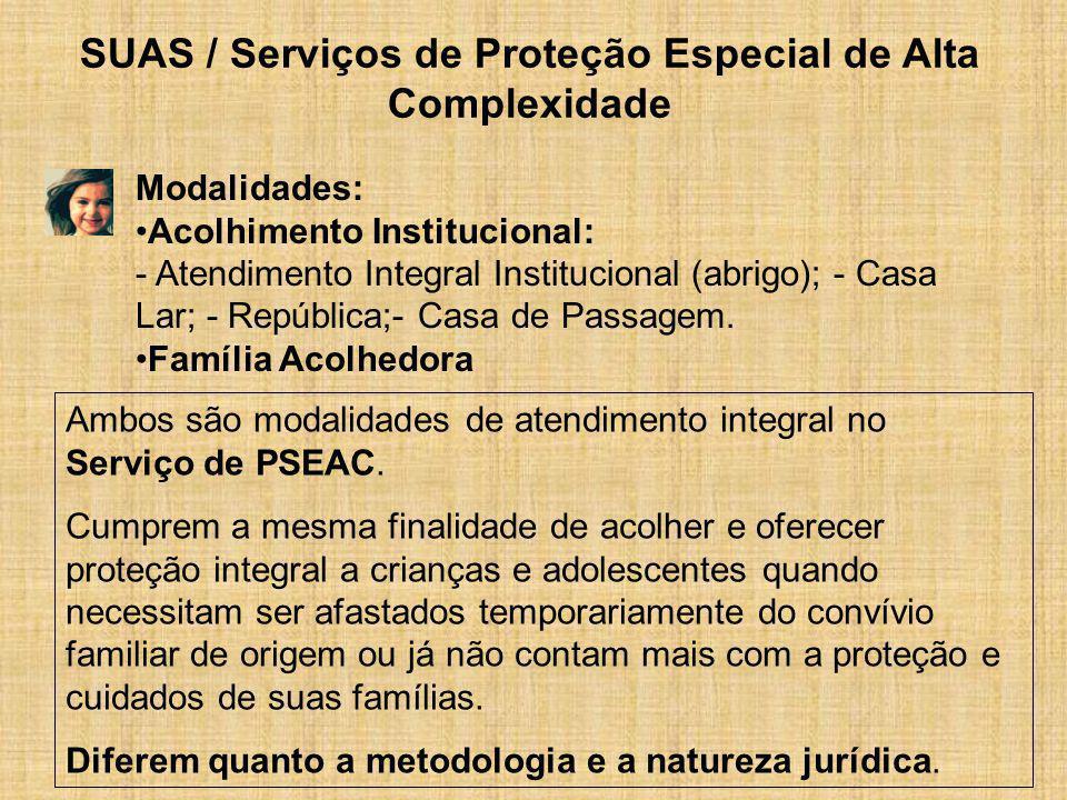 SUAS / Serviços de Proteção Especial de Alta Complexidade