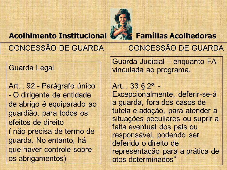Acolhimento Institucional Famílias Acolhedoras