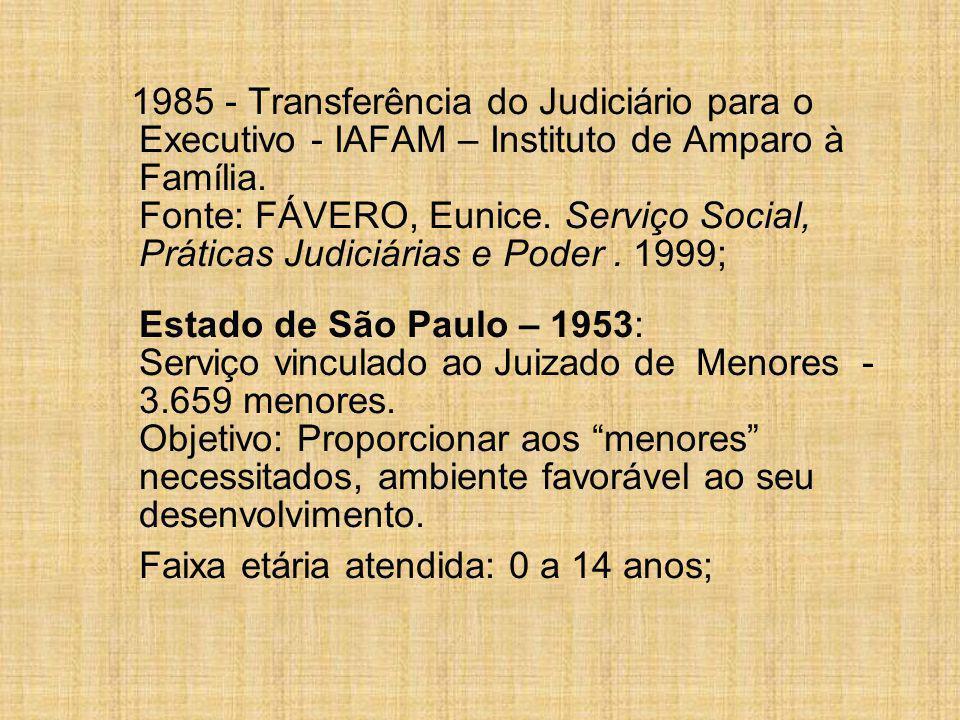 1985 - Transferência do Judiciário para o Executivo - IAFAM – Instituto de Amparo à Família.