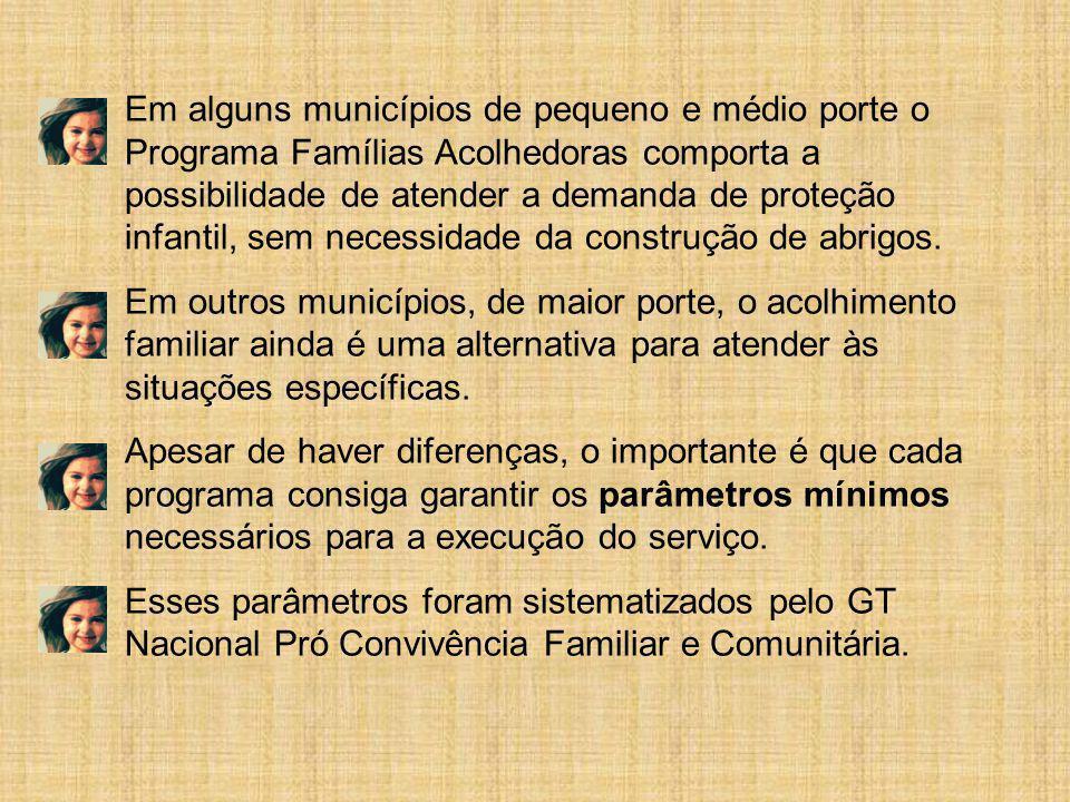 Em alguns municípios de pequeno e médio porte o Programa Famílias Acolhedoras comporta a possibilidade de atender a demanda de proteção infantil, sem necessidade da construção de abrigos.