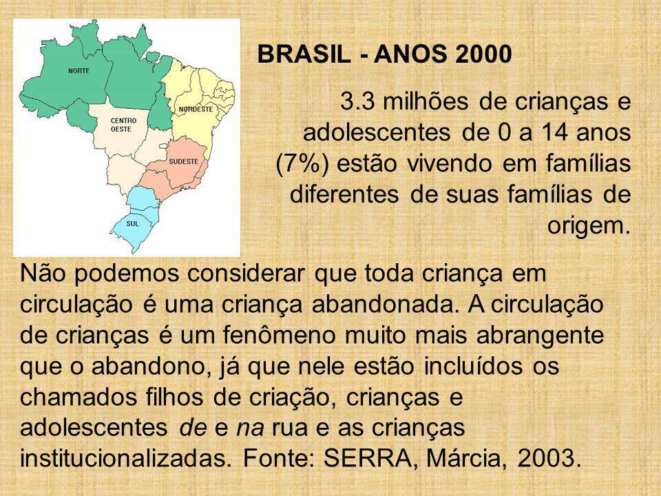 BRASIL - ANOS 2000 3.3 milhões de crianças e adolescentes de 0 a 14 anos (7%) estão vivendo em famílias diferentes de suas famílias de origem.