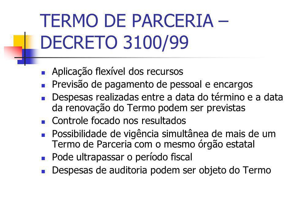 TERMO DE PARCERIA – DECRETO 3100/99