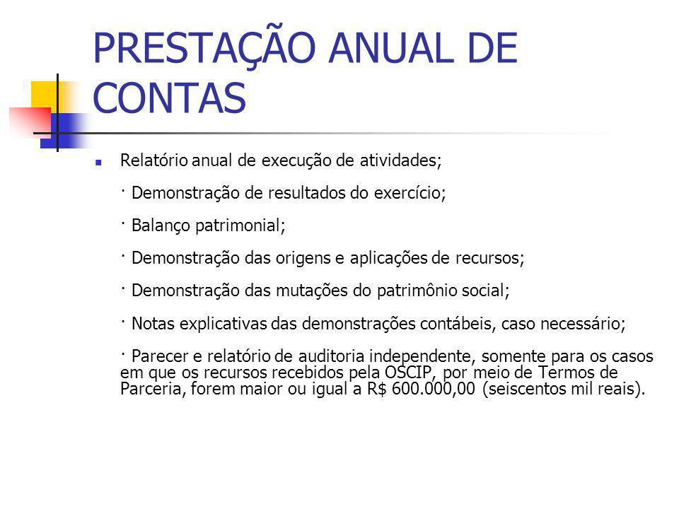 PRESTAÇÃO ANUAL DE CONTAS