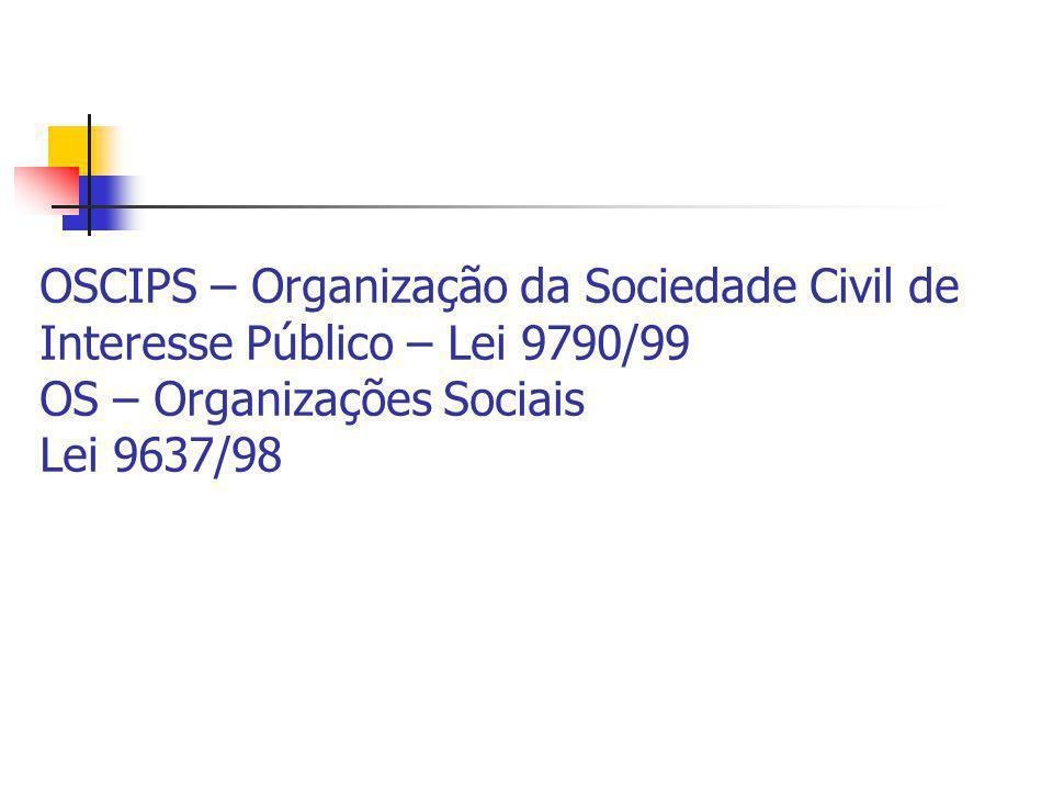 OSCIPS – Organização da Sociedade Civil de Interesse Público – Lei 9790/99 OS – Organizações Sociais Lei 9637/98