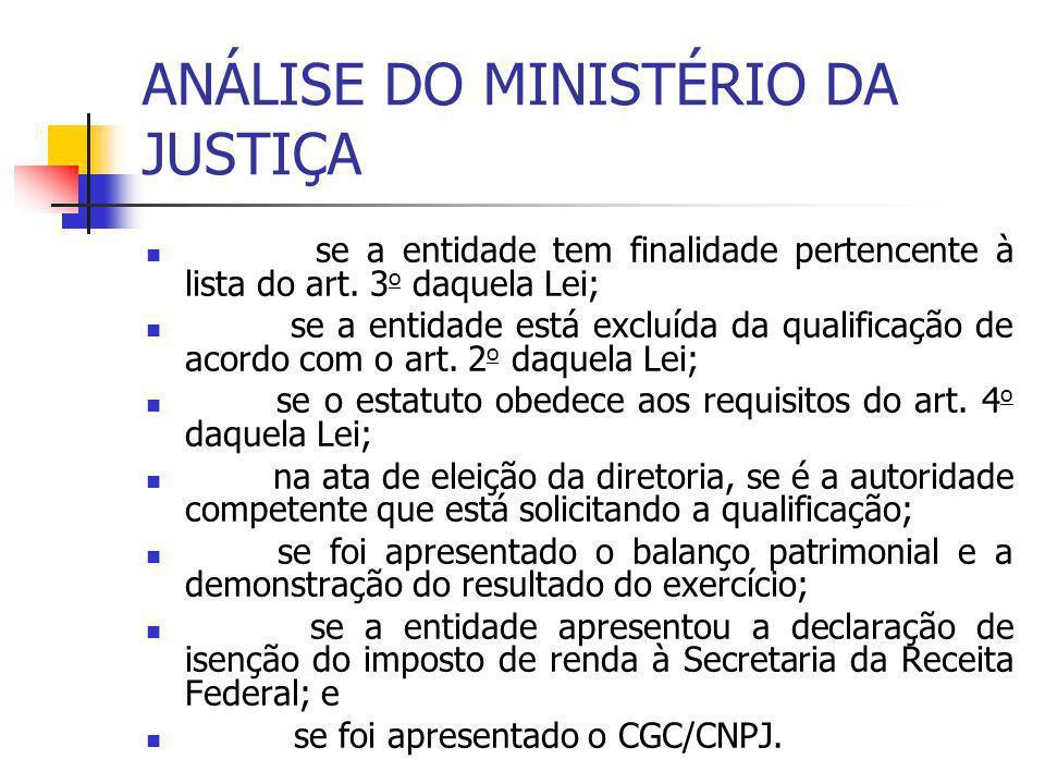 ANÁLISE DO MINISTÉRIO DA JUSTIÇA