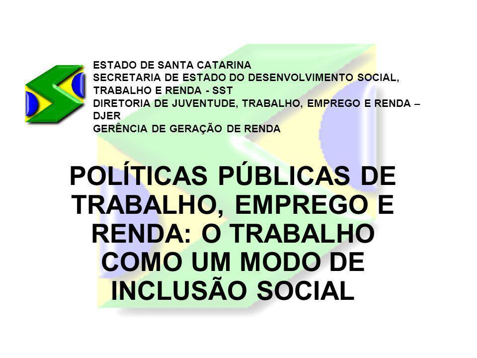 ESTADO DE SANTA CATARINA SECRETARIA DE ESTADO DO DESENVOLVIMENTO SOCIAL, TRABALHO E RENDA - SST DIRETORIA DE JUVENTUDE, TRABALHO, EMPREGO E RENDA – DJER GERÊNCIA DE GERAÇÃO DE RENDA