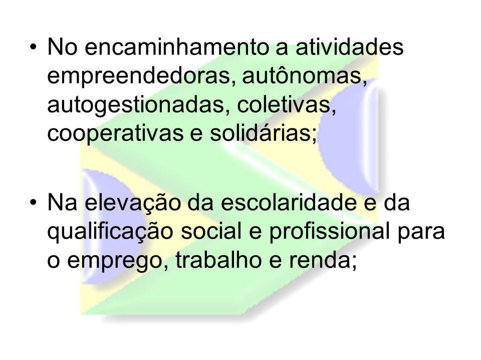 No encaminhamento a atividades empreendedoras, autônomas, autogestionadas, coletivas, cooperativas e solidárias;