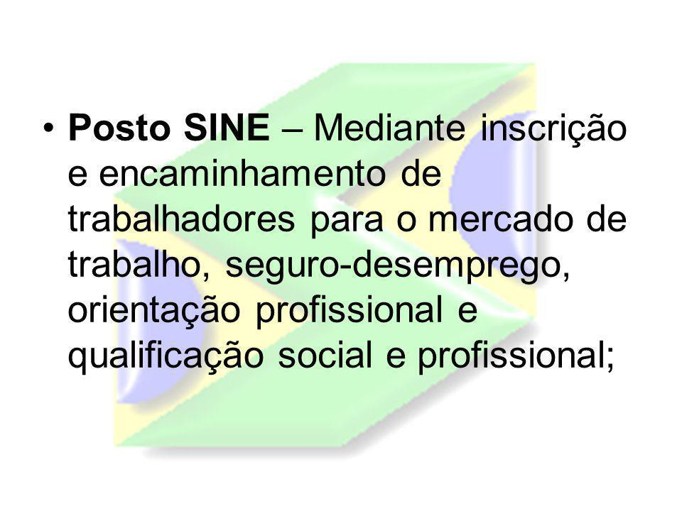 Posto SINE – Mediante inscrição e encaminhamento de trabalhadores para o mercado de trabalho, seguro-desemprego, orientação profissional e qualificação social e profissional;