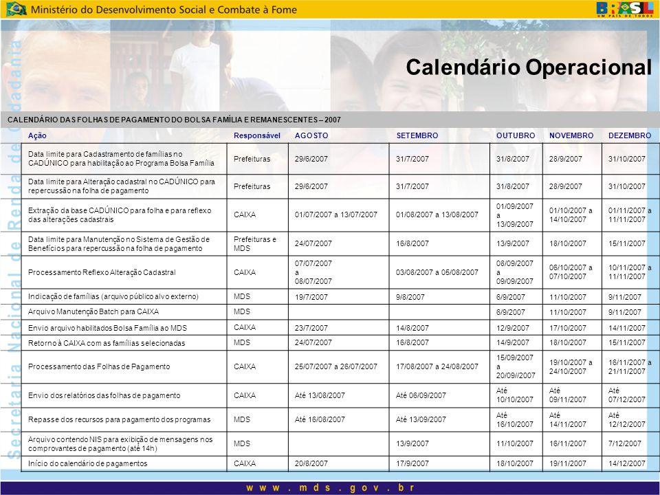 Calendário Operacional