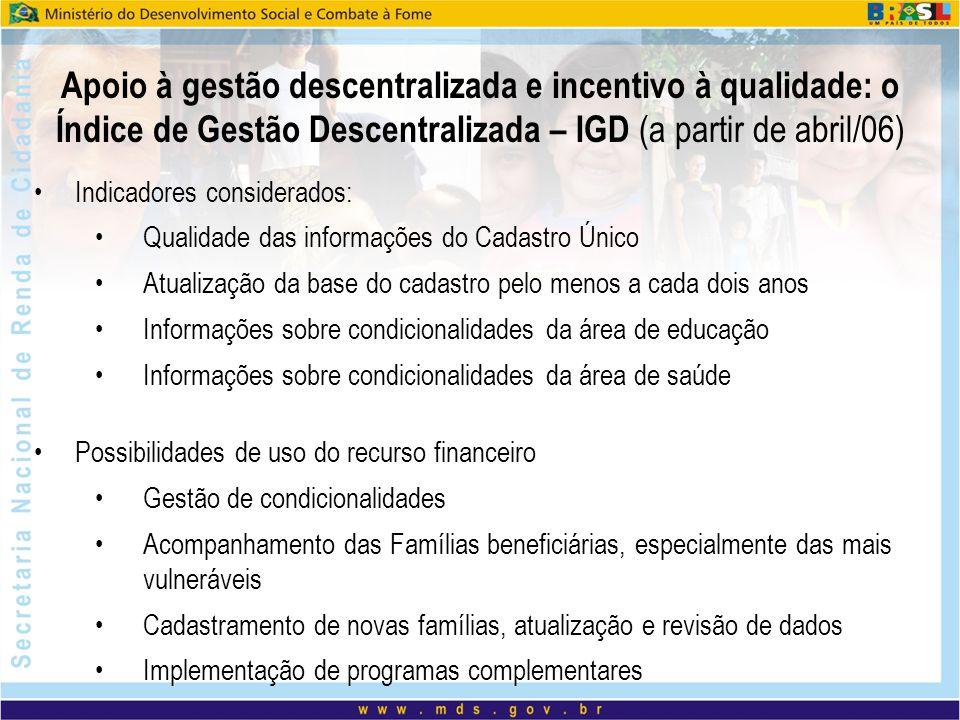 Apoio à gestão descentralizada e incentivo à qualidade: o Índice de Gestão Descentralizada – IGD (a partir de abril/06)