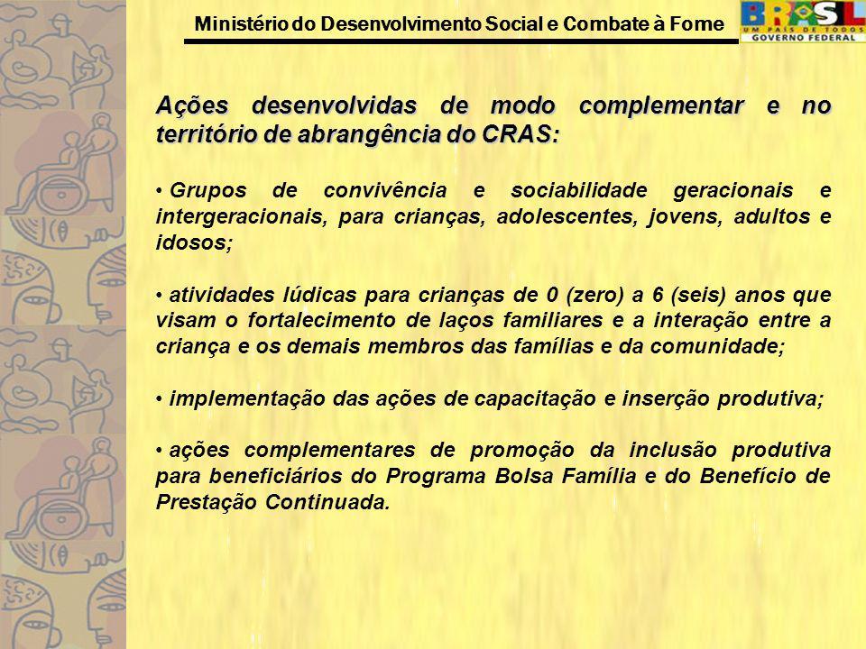 Ações desenvolvidas de modo complementar e no território de abrangência do CRAS: