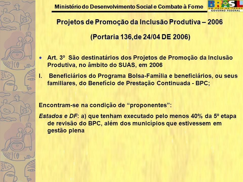 Projetos de Promoção da Inclusão Produtiva – 2006 (Portaria 136,de 24/04 DE 2006)