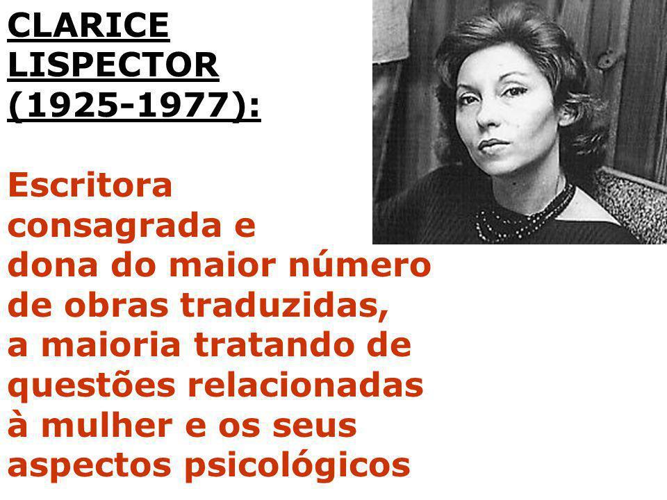CLARICE LISPECTOR. (1925-1977): Escritora. consagrada e. dona do maior número. de obras traduzidas,