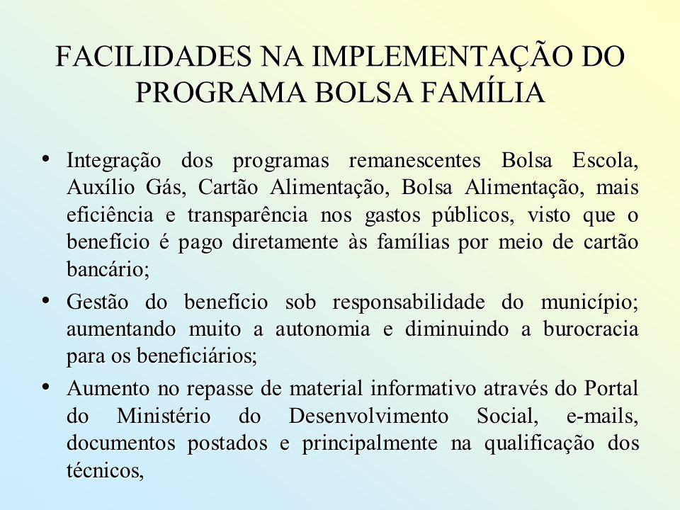 FACILIDADES NA IMPLEMENTAÇÃO DO PROGRAMA BOLSA FAMÍLIA