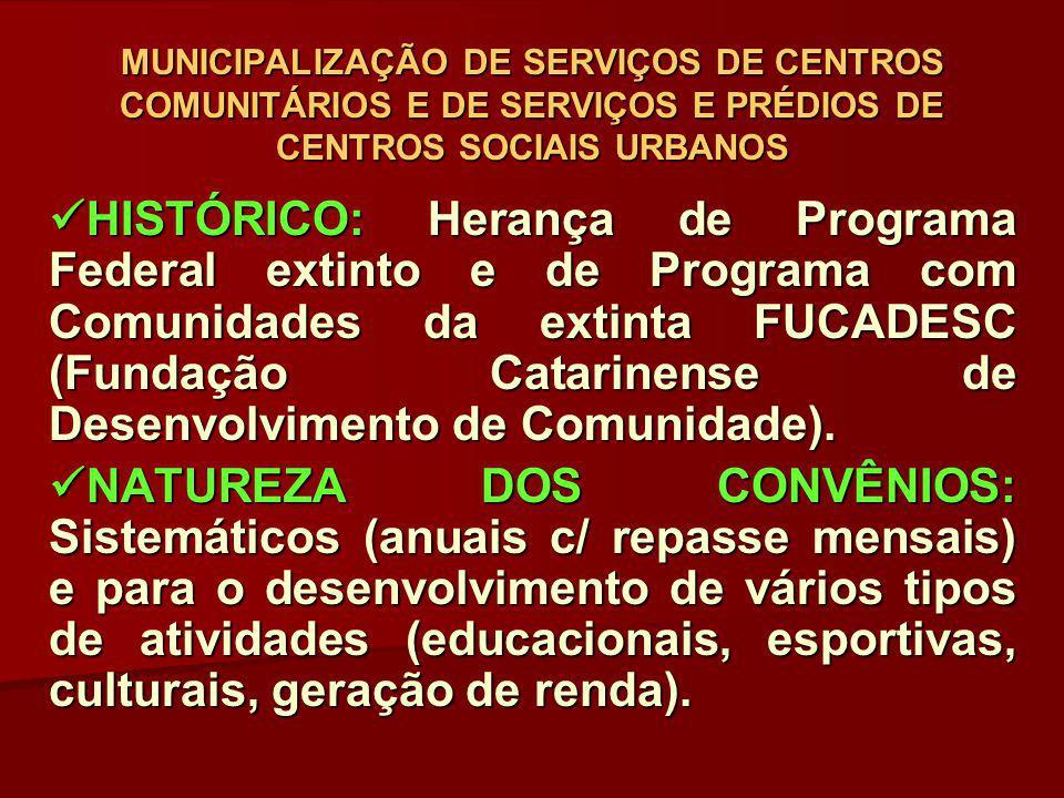 MUNICIPALIZAÇÃO DE SERVIÇOS DE CENTROS COMUNITÁRIOS E DE SERVIÇOS E PRÉDIOS DE CENTROS SOCIAIS URBANOS