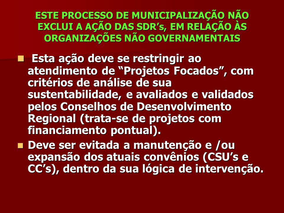 ESTE PROCESSO DE MUNICIPALIZAÇÃO NÃO EXCLUI A AÇÃO DAS SDR's, EM RELAÇÃO ÀS ORGANIZAÇÕES NÃO GOVERNAMENTAIS
