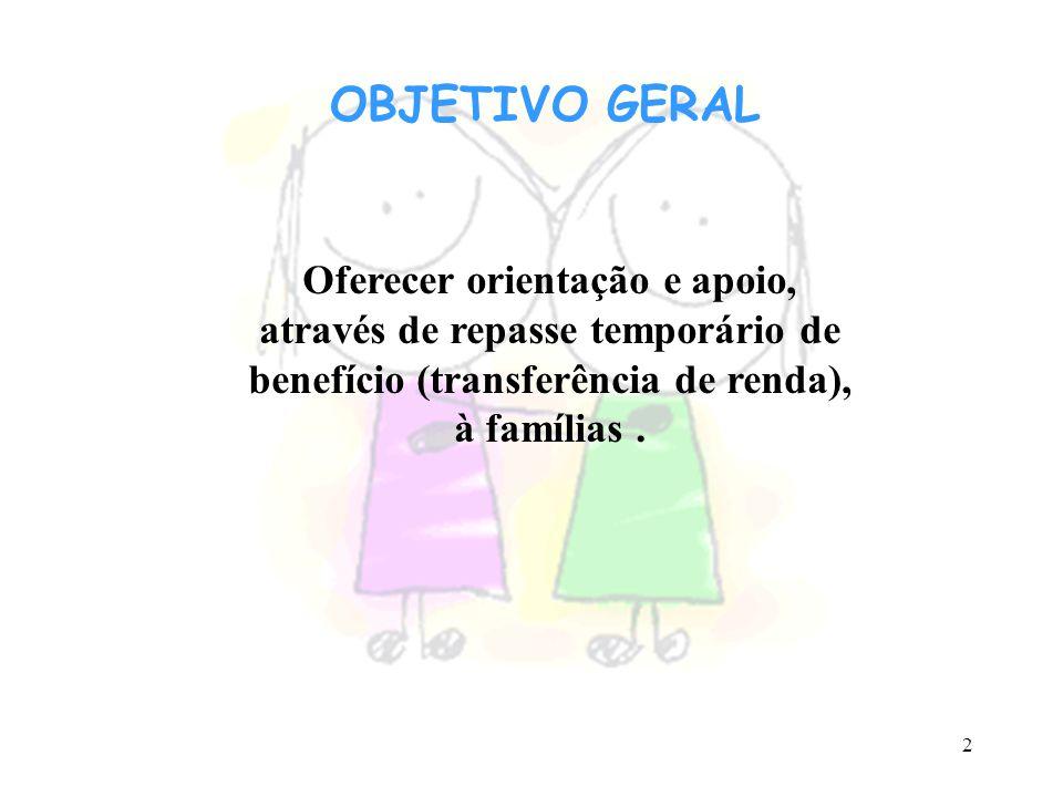 OBJETIVO GERAL Oferecer orientação e apoio, através de repasse temporário de benefício (transferência de renda), à famílias .