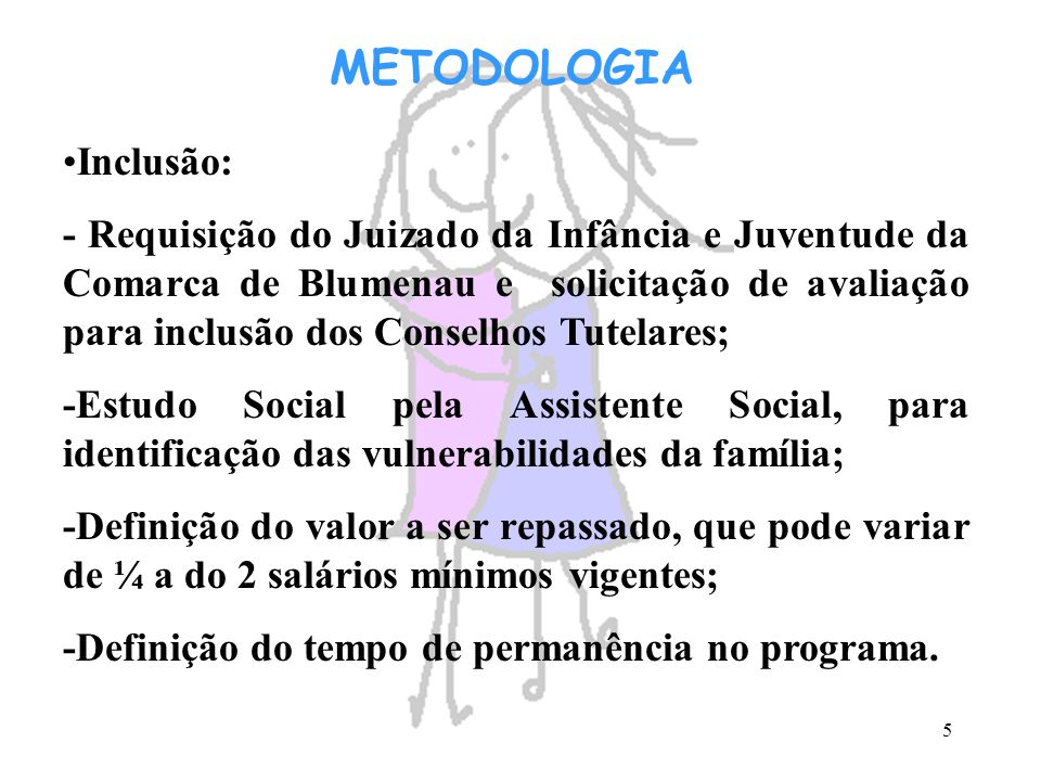 METODOLOGIA Inclusão: