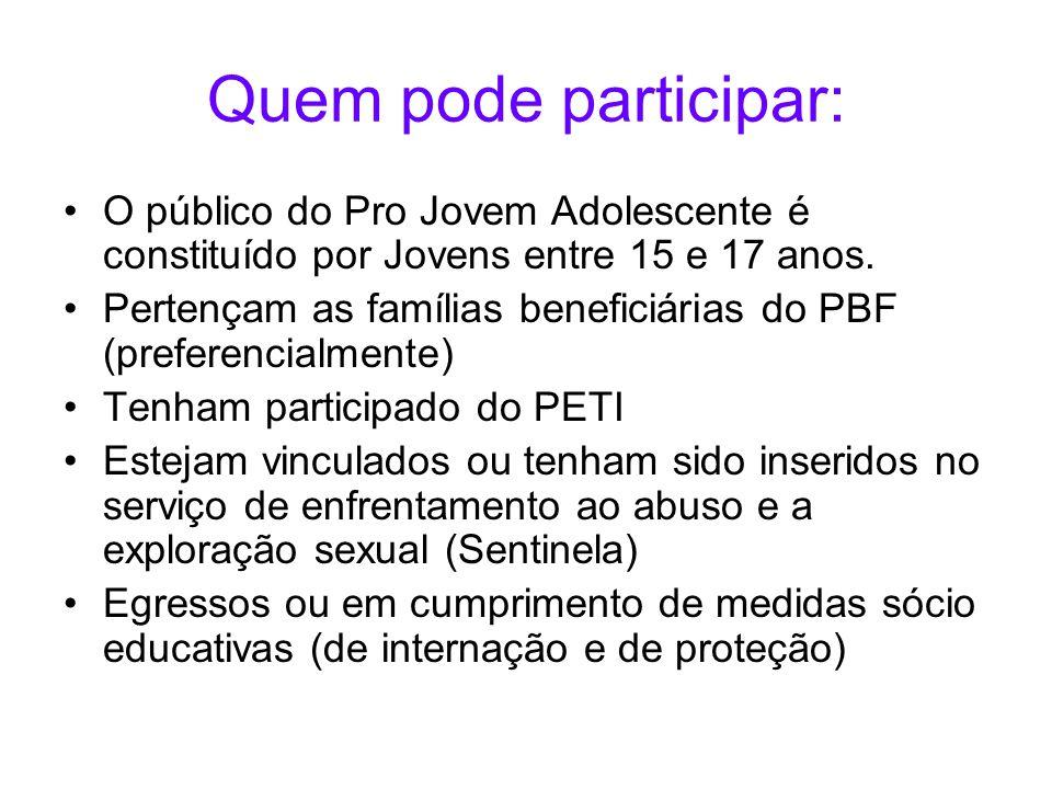 Quem pode participar: O público do Pro Jovem Adolescente é constituído por Jovens entre 15 e 17 anos.