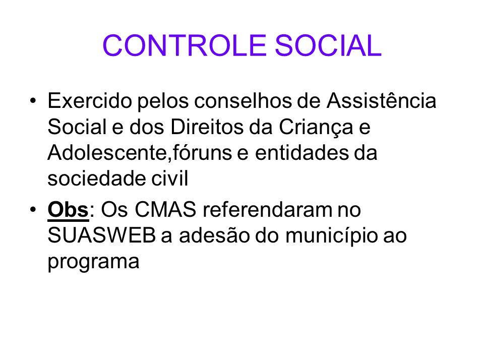 CONTROLE SOCIAL Exercido pelos conselhos de Assistência Social e dos Direitos da Criança e Adolescente,fóruns e entidades da sociedade civil.