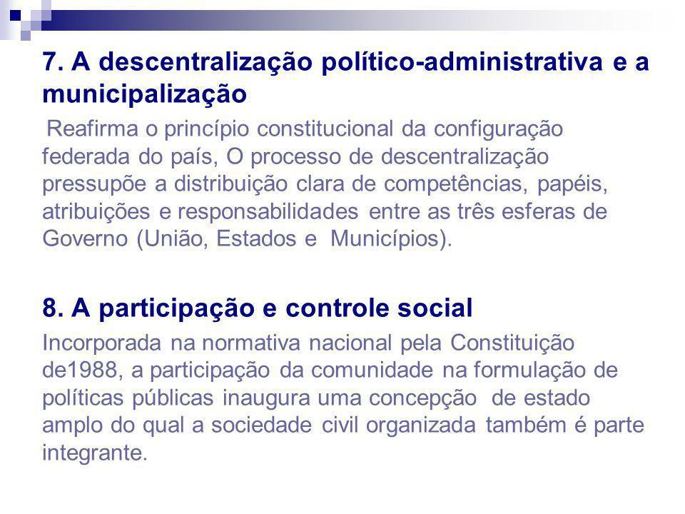 7. A descentralização político-administrativa e a municipalização