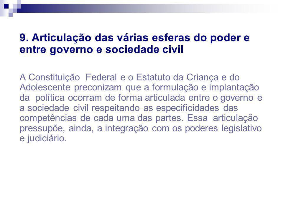 9. Articulação das várias esferas do poder e entre governo e sociedade civil