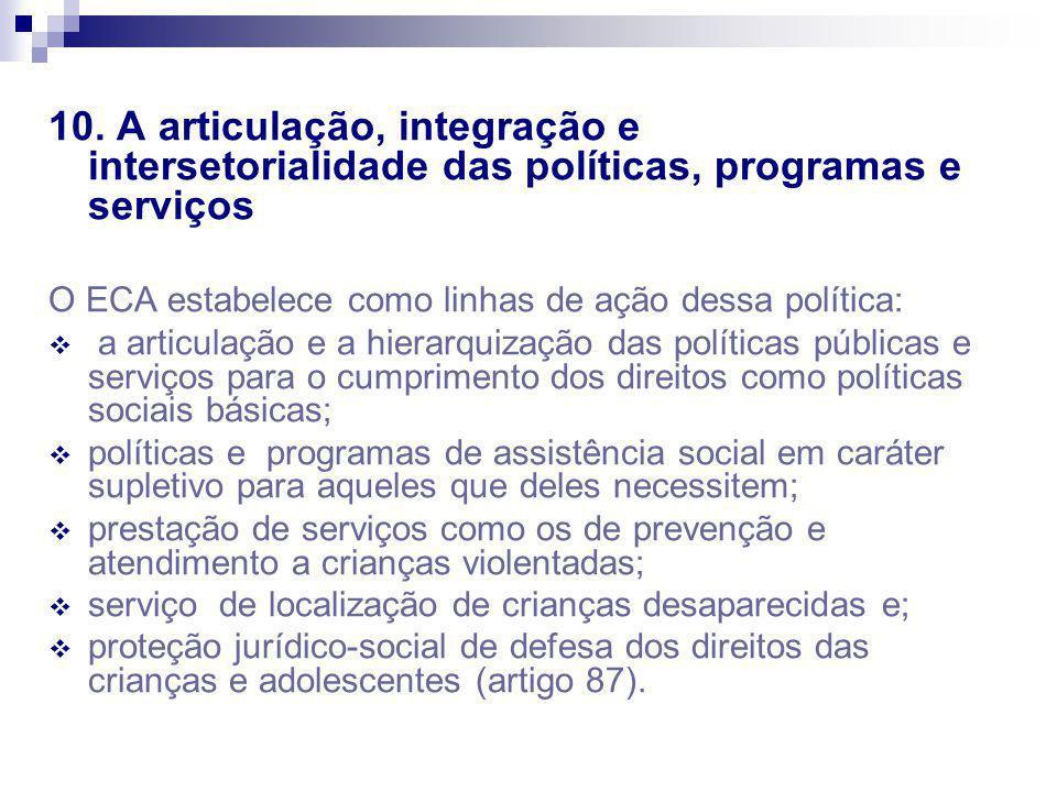 10. A articulação, integração e intersetorialidade das políticas, programas e serviços