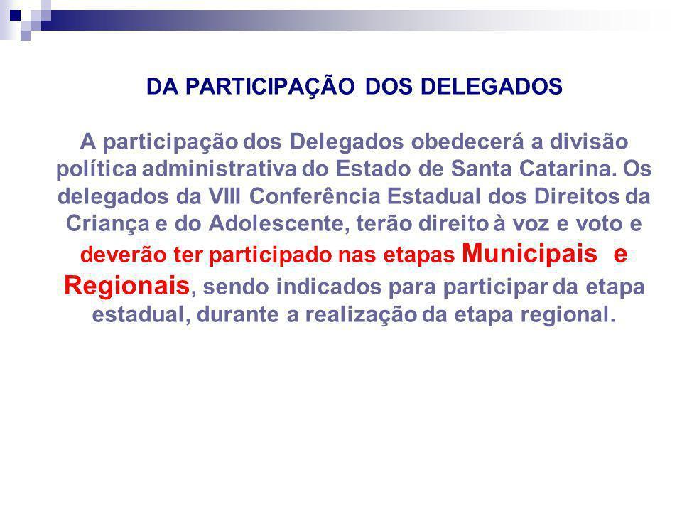 DA PARTICIPAÇÃO DOS DELEGADOS A participação dos Delegados obedecerá a divisão política administrativa do Estado de Santa Catarina.