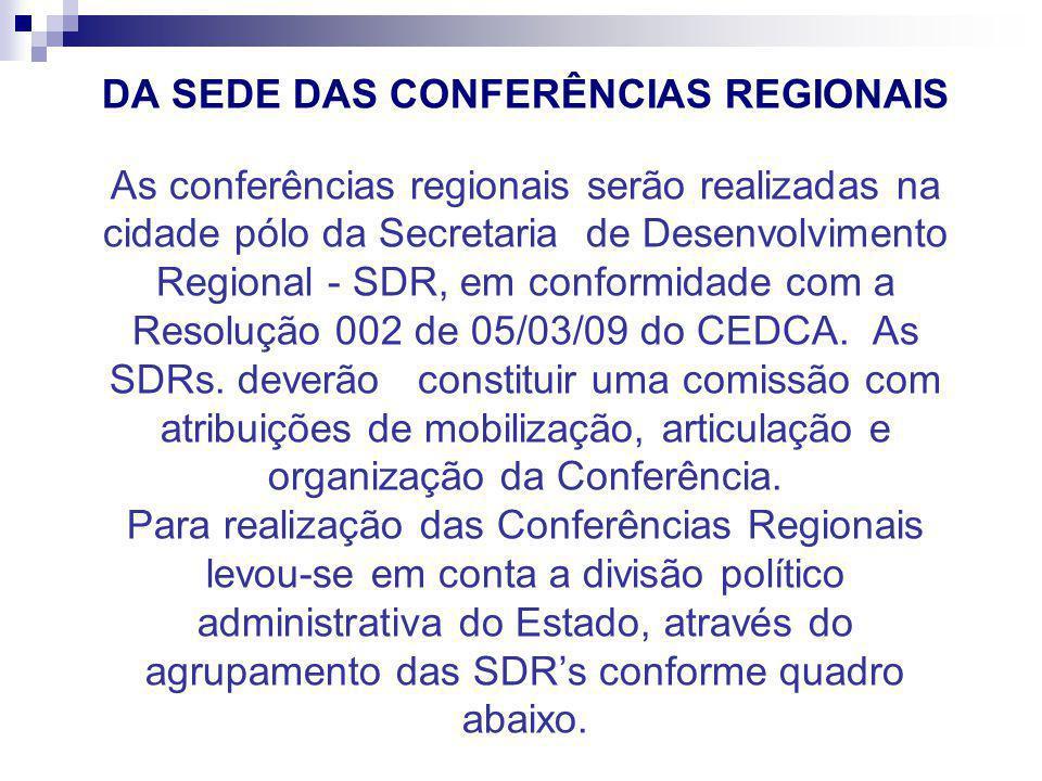 DA SEDE DAS CONFERÊNCIAS REGIONAIS As conferências regionais serão realizadas na cidade pólo da Secretaria de Desenvolvimento Regional - SDR, em conformidade com a Resolução 002 de 05/03/09 do CEDCA.