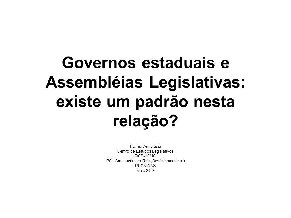 Governos estaduais e Assembléias Legislativas: existe um padrão nesta relação