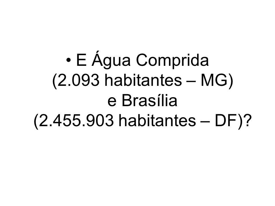 E Água Comprida (2. 093 habitantes – MG) e Brasília (2. 455