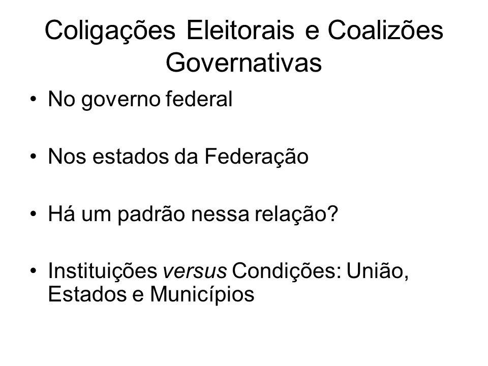 Coligações Eleitorais e Coalizões Governativas