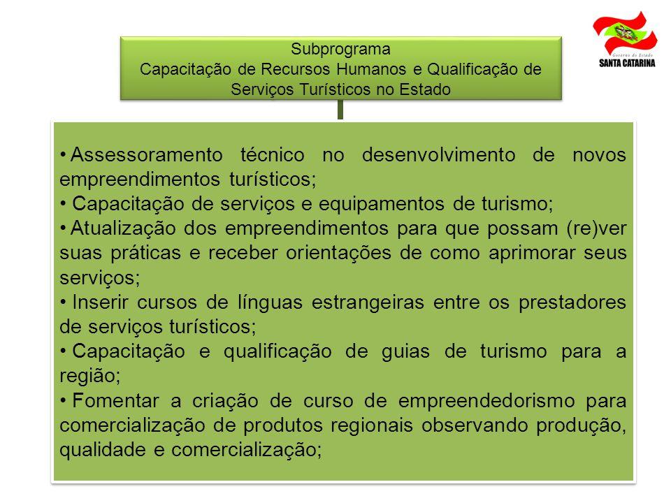Capacitação de serviços e equipamentos de turismo;