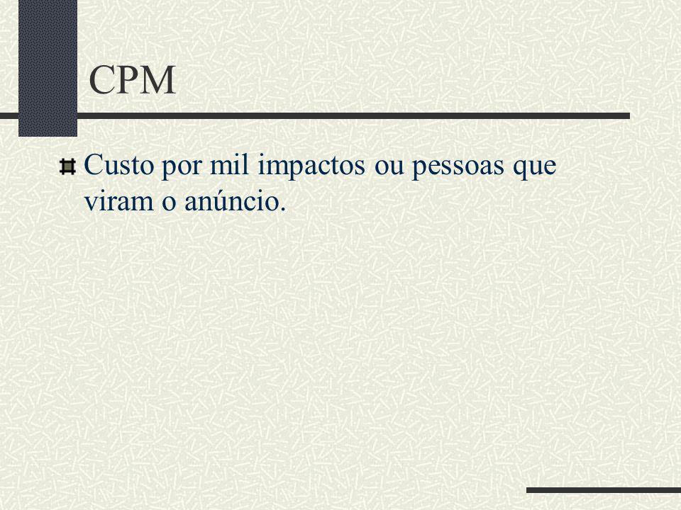 CPM Custo por mil impactos ou pessoas que viram o anúncio.