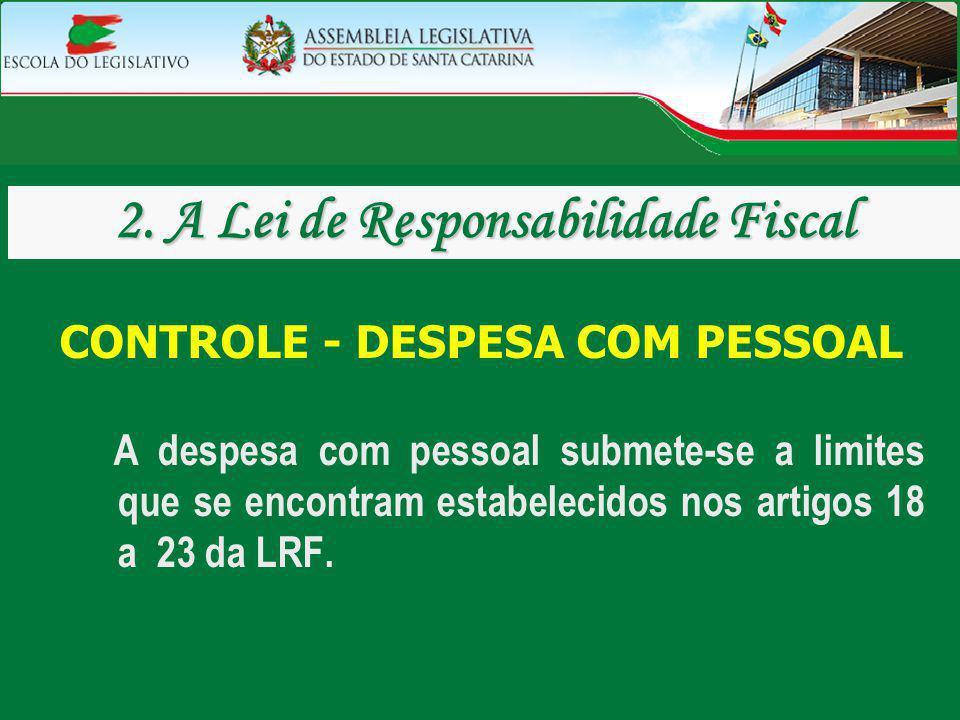 2. A Lei de Responsabilidade Fiscal CONTROLE - DESPESA COM PESSOAL