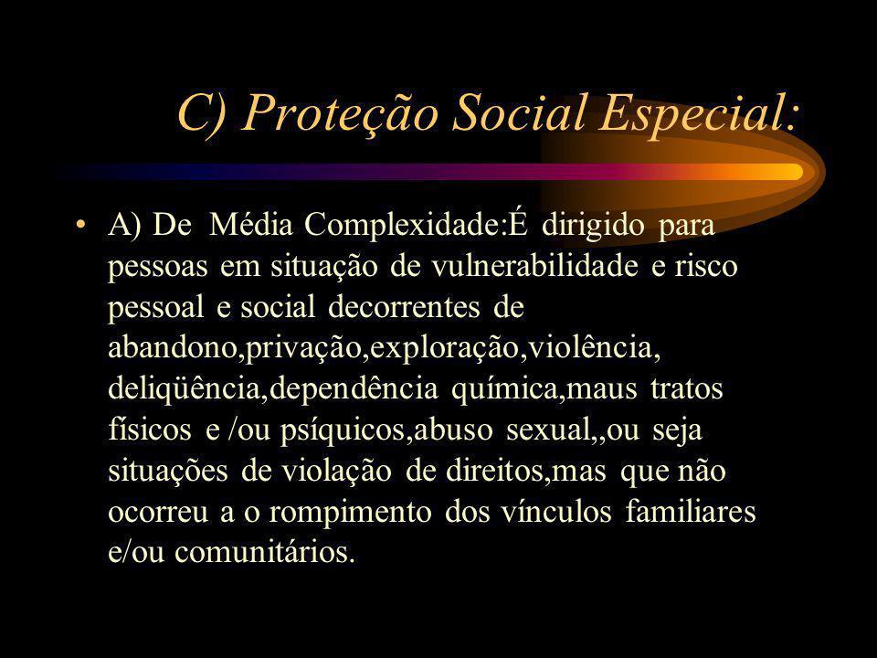 C) Proteção Social Especial:
