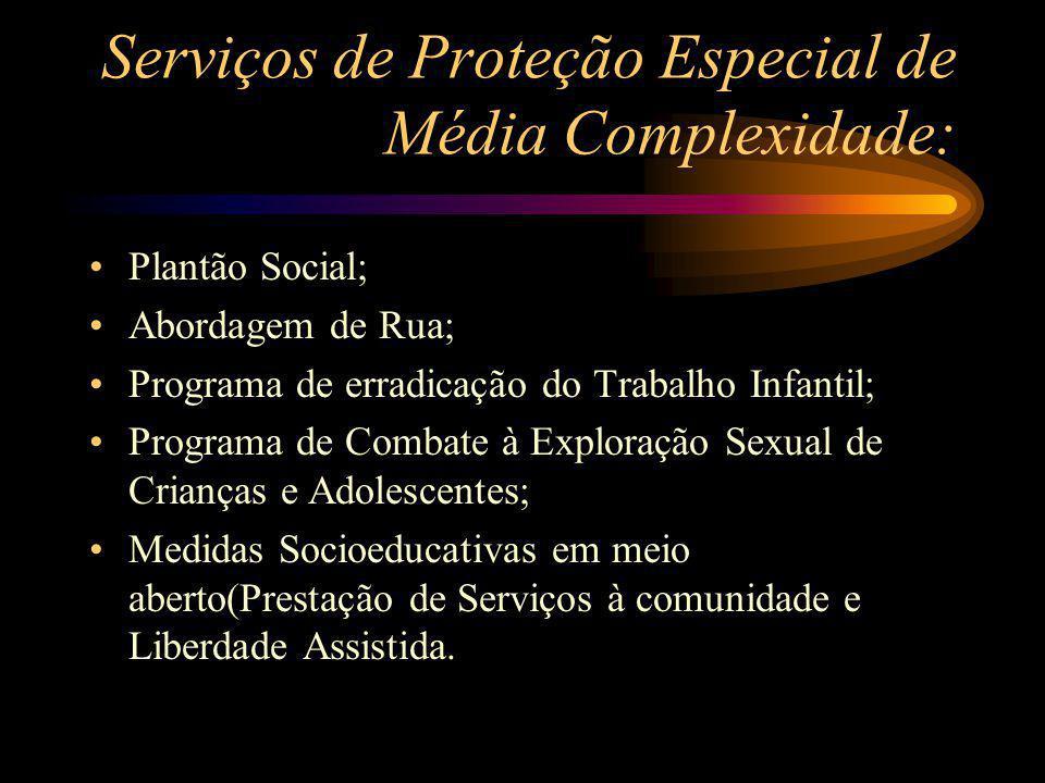 Serviços de Proteção Especial de Média Complexidade: