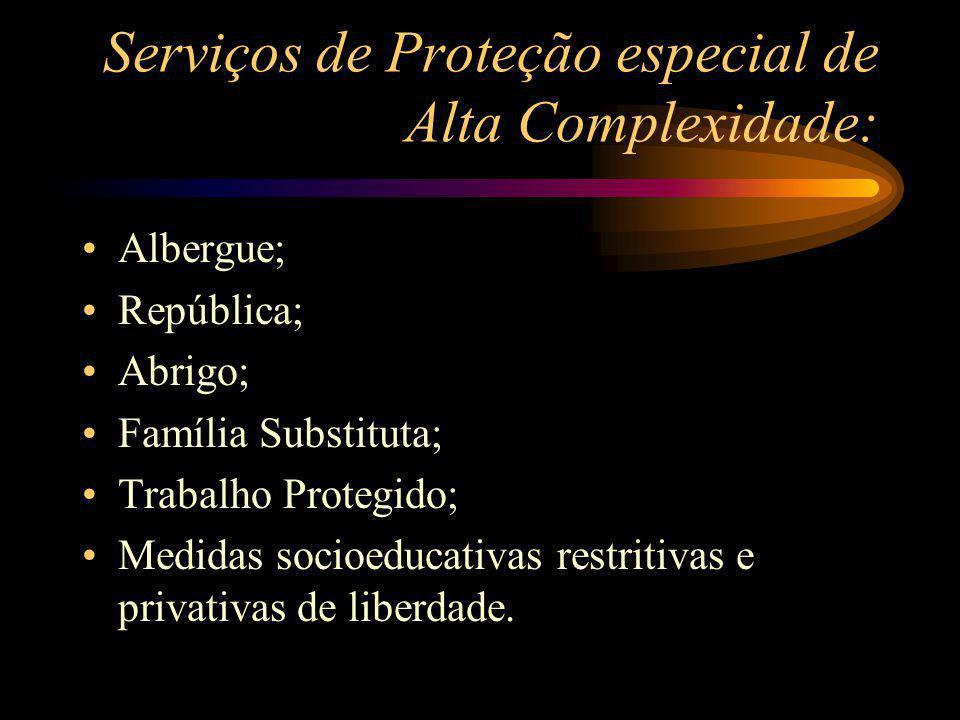Serviços de Proteção especial de Alta Complexidade: