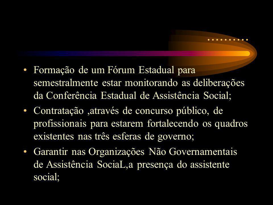 .......... Formação de um Fórum Estadual para semestralmente estar monitorando as deliberações da Conferência Estadual de Assistência Social;