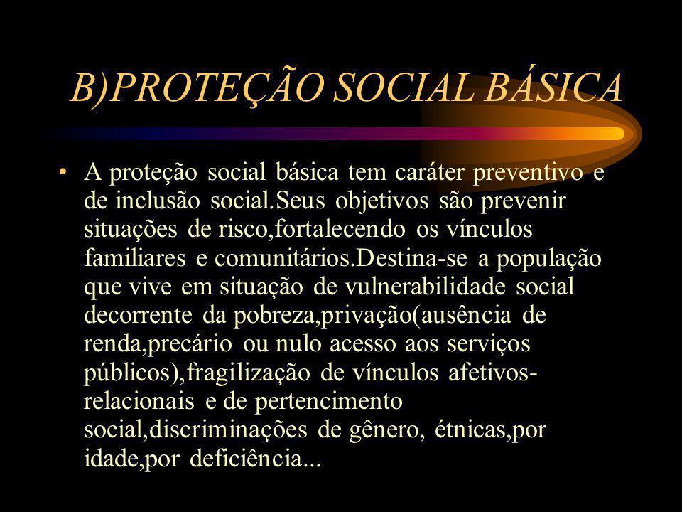 B)PROTEÇÃO SOCIAL BÁSICA