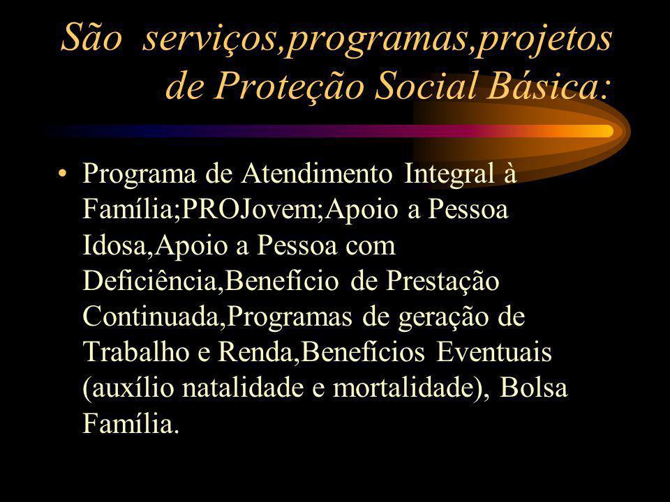 São serviços,programas,projetos de Proteção Social Básica: