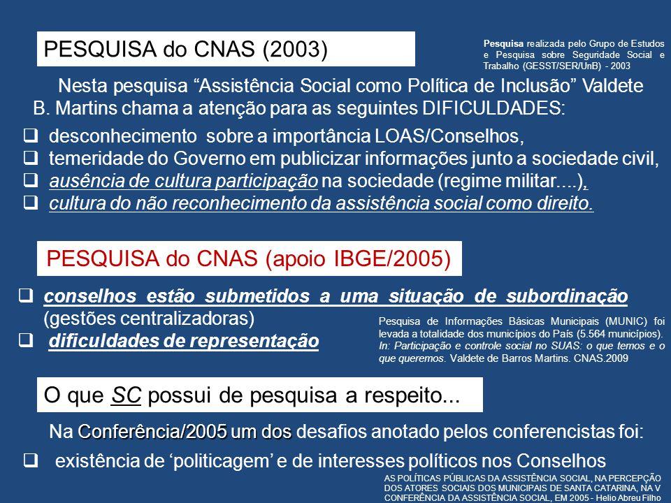 PESQUISA do CNAS (apoio IBGE/2005)