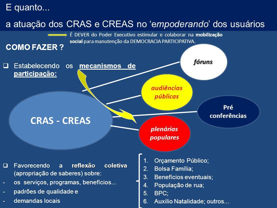E quanto... a atuação dos CRAS e CREAS no 'empoderando' dos usuários.