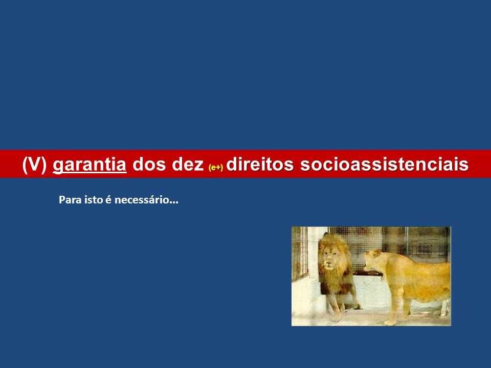 (V) garantia dos dez (e+) direitos socioassistenciais