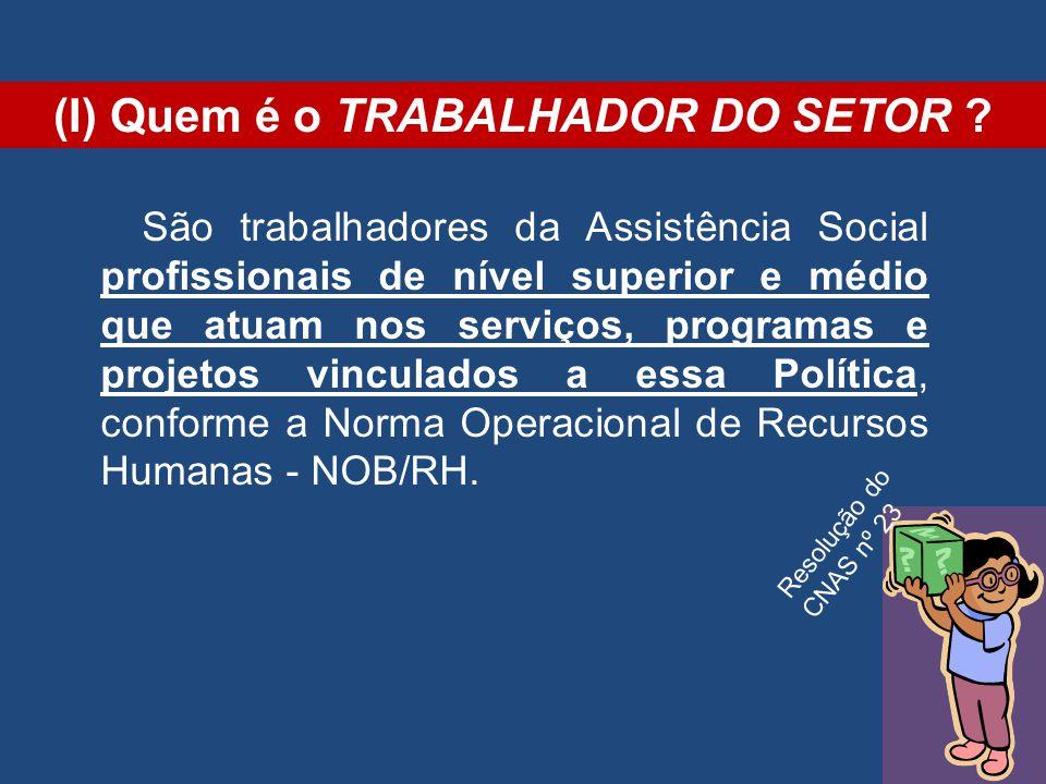 (I) Quem é o TRABALHADOR DO SETOR